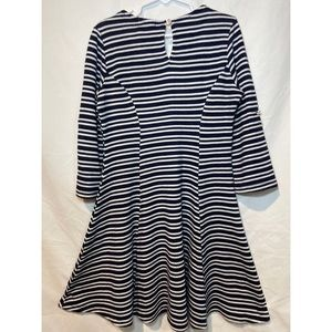 Monteau Dresses - Montesinos girl white and navy blue stripe dress